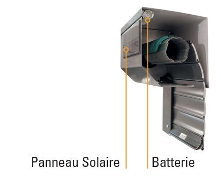 coffre avec batterie solaire intégrée